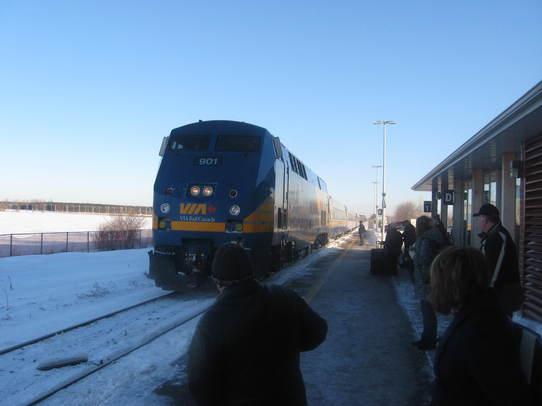 VIA Train Arrives at Fallowfield