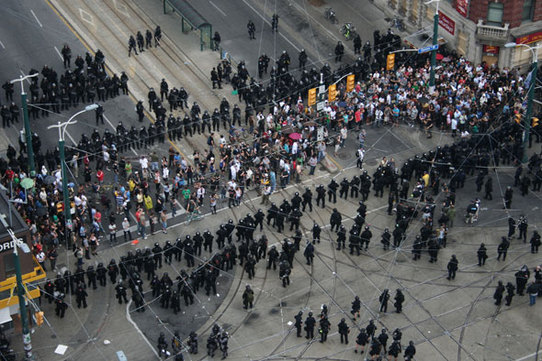 Protest and Police at Queen and Spadina