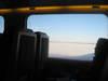 Snowy fields outside of train window